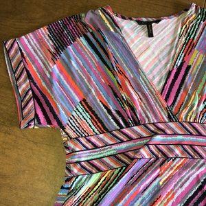 BCBGMaxAzria Striped Purple Blue Stretch Top Sz L